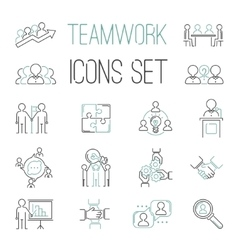 Business teamwork teambuilding outline icons vector