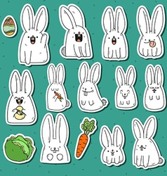 Set 12 sticker rabbit doodle with different vector