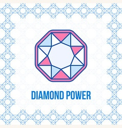 Diamond outline icon top view vector
