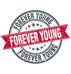 Forever young red round grunge vintage ribbon vector