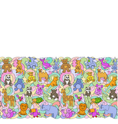 Animal toys seamless border vector