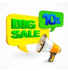 Big sale inscription megaphone vector