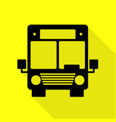 Bus sign black icon with flat style vector