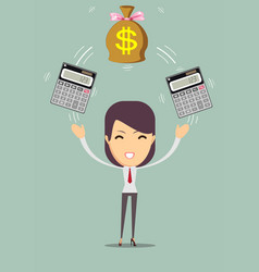 business woman with calculator and money profit vector image