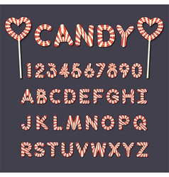 Candy lollipop alphabet letters and numbers vector