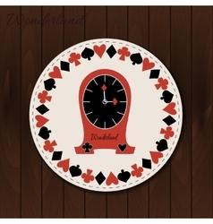 Clocks - drink coaster from wonderland on wooden vector