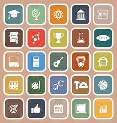 College flat icons on brown background vector