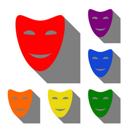 Comedy theatrical masks set of red orange vector