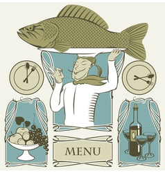 cook fish vector image vector image