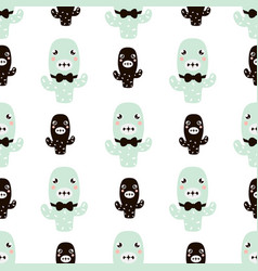 cute seamless pattern wirh cactus characters vector image vector image