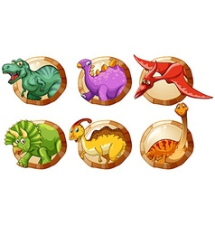 Different types of dinosaurs on round buttons vector