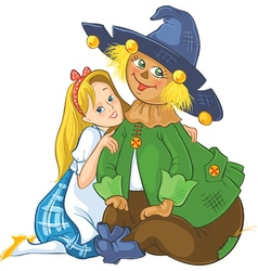 Dorothy and scarecrow wizard of oz cartoon vector
