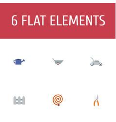 Flat icons pruner wheelbarrow garden hose and vector