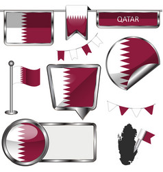 Glossy icons with flag of qatar vector