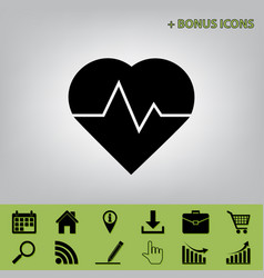 Heartbeat sign black icon at vector