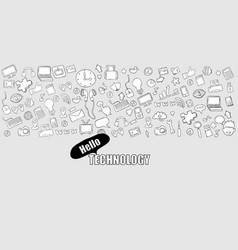 Hello technology background with media icons vector