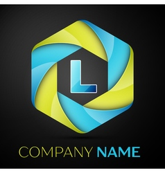 L letter colorful logo in the hexagonal on black vector