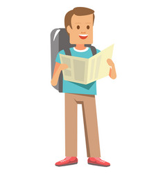 man with backpack and map ready for journey vector image