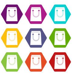 Paper bag icon set color hexahedron vector