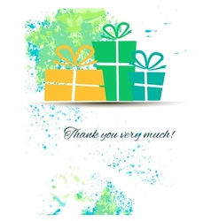 Postcard with gifts and gratitude on a watercolor vector