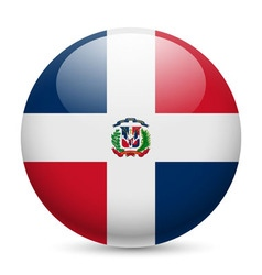 Round glossy icon of dominican republic vector