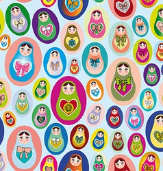 Seamless patten with russian dolls on a blue vector