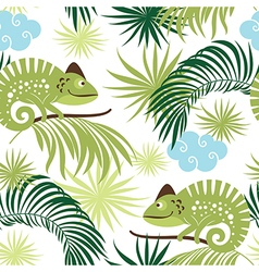 Seamless pattern with Chameleons vector image vector image
