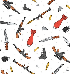 Seamless pattern with different weapon scattered vector