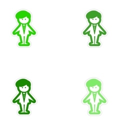 Set of paper stickers on white background groom vector