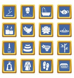 Spa treatments icons set blue vector