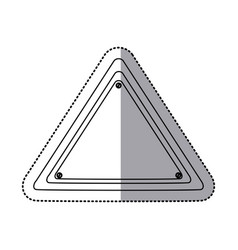 Sticker silhouette triangle warning traffic sign vector