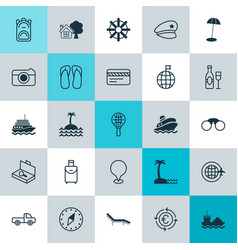 Tourism icons set collection of island beach vector
