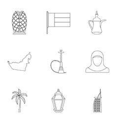 Tourism in uae icons set outline style vector