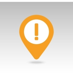 Warning attention exclamation mark pin map icon vector image