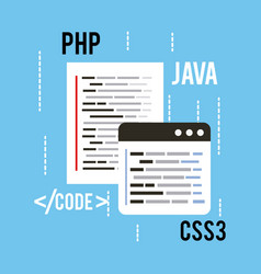 Web programming concept languages code css3 php vector