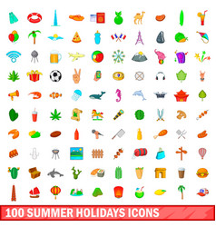 100 summer holidays icons set cartoon style vector