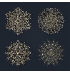 Various golden winter snowflakes set vector