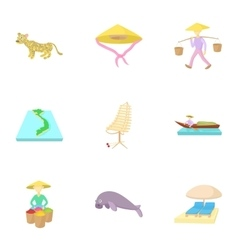 Tourism in vietnam icons set cartoon style vector