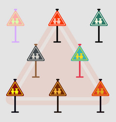 Collection of school warning road sign kids road vector