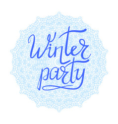 Winter party typographic poster vector