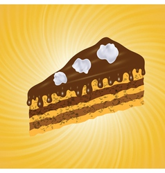 Piece of chocolate cake vector