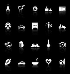 Friday and weekend icons with reflect on black vector