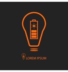 Orange bulb with solar battery on black vector