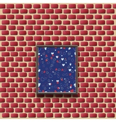 Abstract painting on a brick wall vector