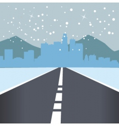 Snowing road vector