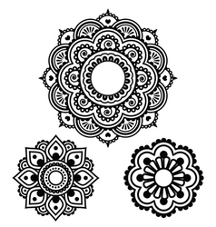 Indian henna tattoo round design - mehndi pattern vector