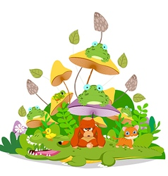 Funny animals stay together in the mushroom vector image