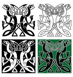 Tribal dragons ornament with celtic knot pattern vector