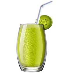 Kiwi smoothie in glass vector