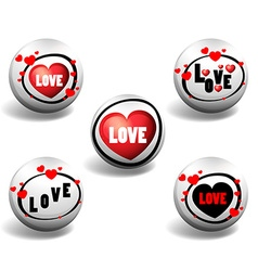 Love button in different designs vector